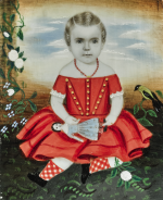 ATTRIBUTED TO MRS. MOSES B. RUSSELL (CLARISSA PETERS) | MINIATURE PORTRAIT OF A YOUNG GIRL IN A RED DRESS WITH CORAL NECKLACE HOLDING HER DOLL