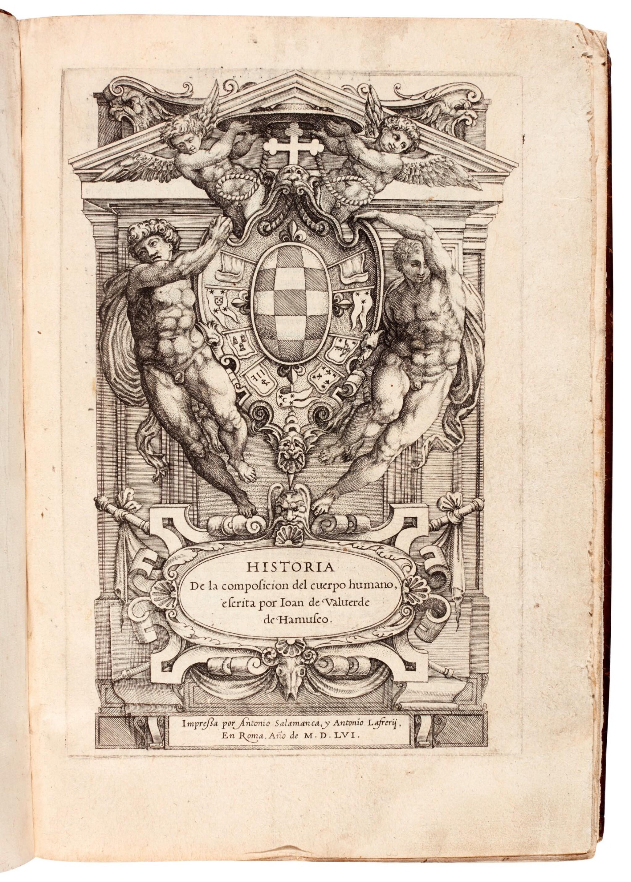 View full screen - View 1 of Lot 54. Valverde de Amusco | Historia de la composicion del cuerpo humano, Rome, 1556, later calf.