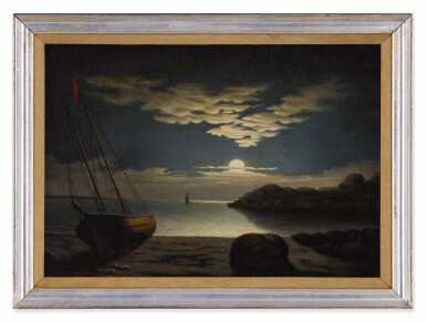 View 2. Thumbnail of Lot 79. Moonlight Seascape, Gloucester Harbor.