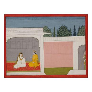 View 1. Thumbnail of Lot 377.  AN ILLUSTRATION TO A BHAGAVATA PURANA SERIES: SUDAMA WATCHES KRISHNA AND RUKMINI IN CONVERSATION,  INDIA, KANGRA, CIRCA 1800 .