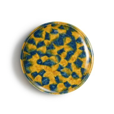 View 5. Thumbnail of Lot 176. A dappled blue-and-amber-glazed box and cover, Tang dynasty | 唐 三彩加藍蓋盒.