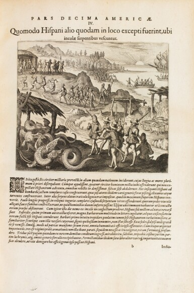 View 2. Thumbnail of Lot 198. [Grands voyages]. Frankfurt, Johann Wechel, 1590-1625.12 parties en 4 volumes in-folio. Vélin ancien..