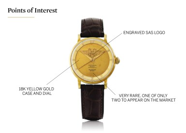 UNIVERSAL GENÈVE | MADE FOR SCANDINAVIAN AIRLINES SYSTEM: POLAROUTER DELUXE, REF 10234/1  YELLOW GOLD WRISTWATCH CIRCA 1955