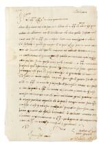 """[D'ESTE, Isabelle]. Lettre autographe d'un membre de sa famille, signée """"Isabella estes"""". castel Novo 1528."""