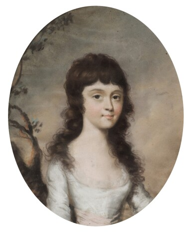 ATTRIBUTED TO SIR THOMAS LAWRENCE, P.R.A.   Portrait of a young girl, circa 1790