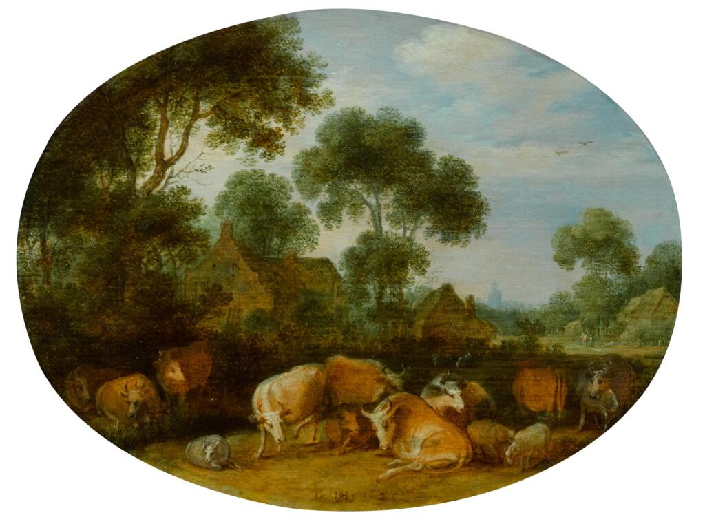 GILLIS CLAESZ. DE HONDECOETER | Cows and sheep resting in a wooded landscape near farmhouses, a church tower in the distance