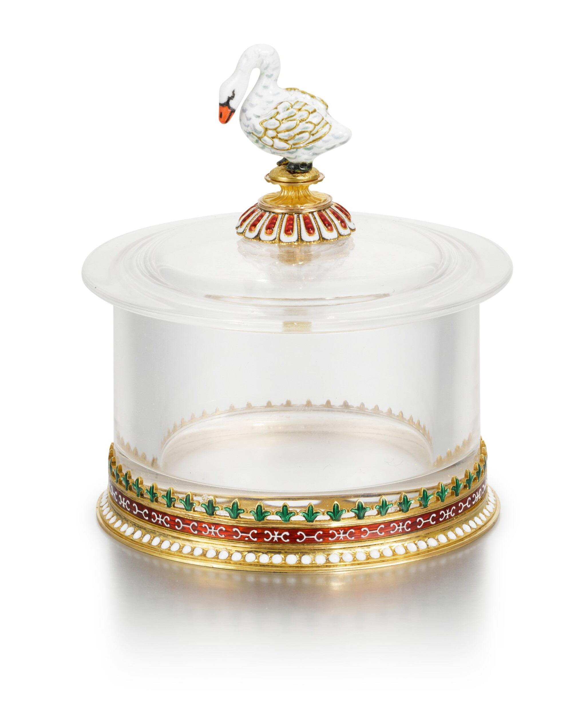 View full screen - View 1 of Lot 40. A Fabergé gold, rock crystal and en plein enamel box, workmaster Michael Perchin, Moscow, circa 1890.