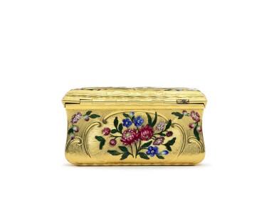 View 5. Thumbnail of Lot 13. A gold and enamel snuff box, James Bellis, London, circa 1765.