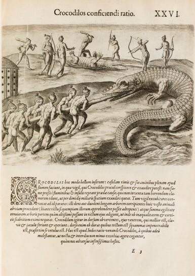 View 7. Thumbnail of Lot 198. [Grands voyages]. Frankfurt, Johann Wechel, 1590-1625.12 parties en 4 volumes in-folio. Vélin ancien..