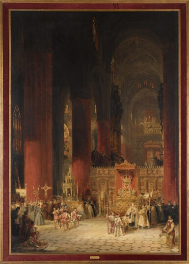 View 2. Thumbnail of Lot 160. DAVID ROBERTS, R.A. | INTERIOR OF THE CATHEDRAL OF SEVILLE DURING THE CEREMONY OF CORPUS CHRISTI.