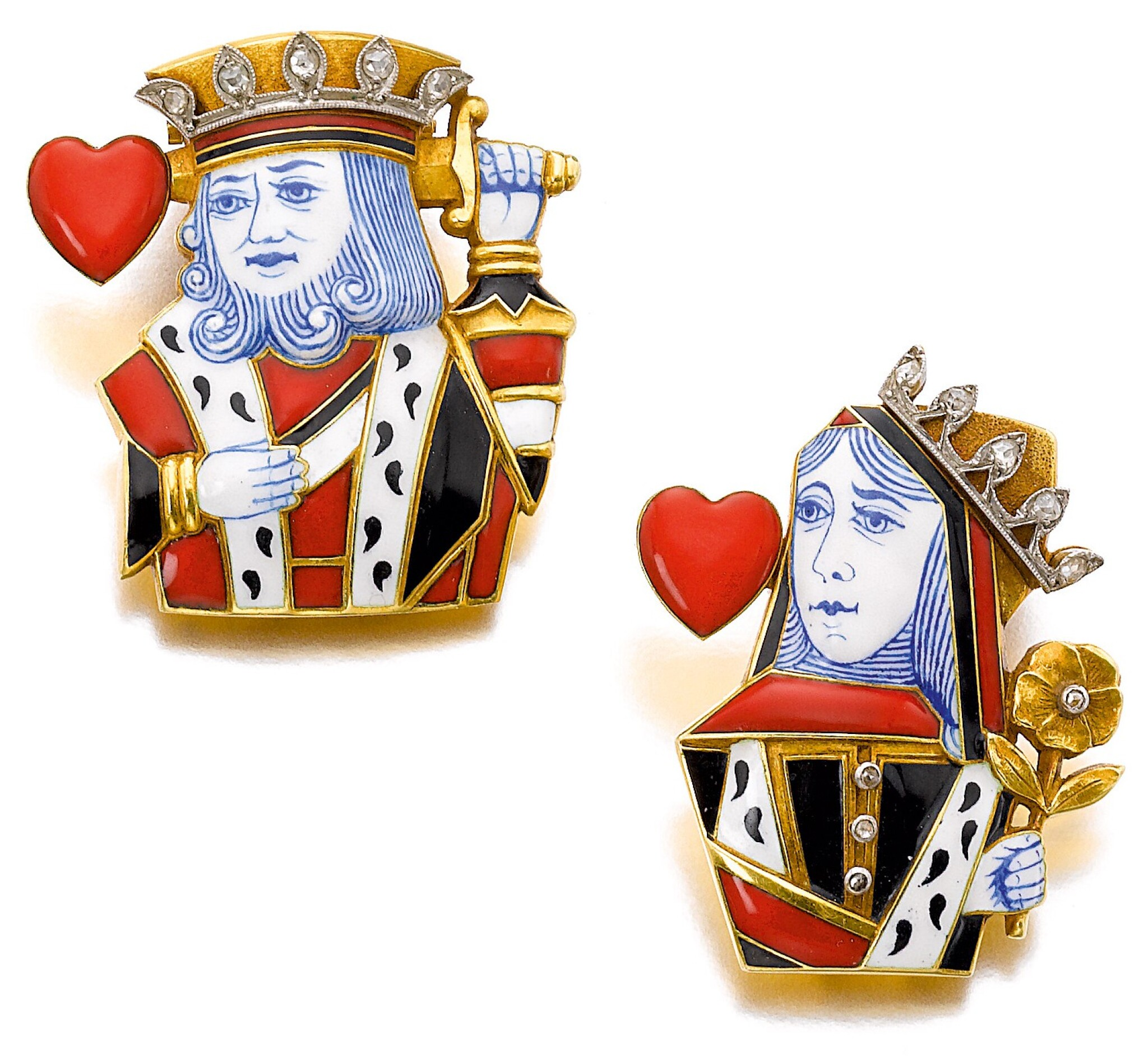 View full screen - View 1 of Lot 689. Cartier | Pair of enamel and diamond clips, 'King of Hearts' and 'Queen of Hearts', circa 1950 | 卡地亞琺瑯配鑽石「King of Hearts」及「Queen of Hearts」別針一對,約1950年.