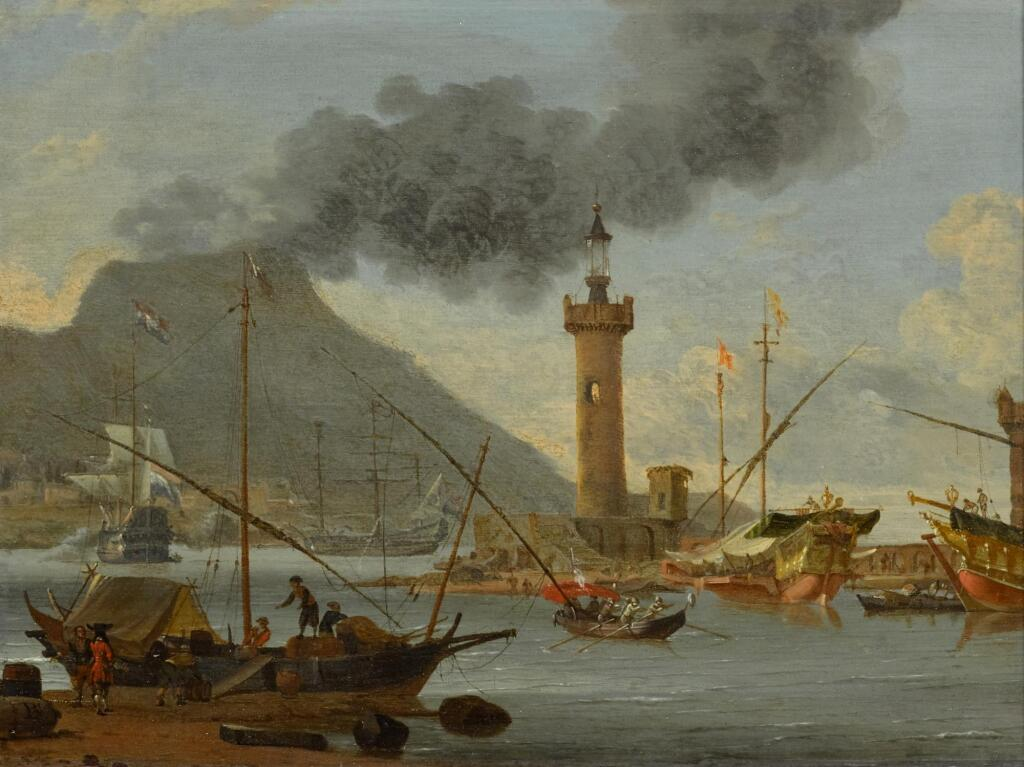 ABRAHAM STORCK | A capriccio view of shipping in a Mediterranean harbour