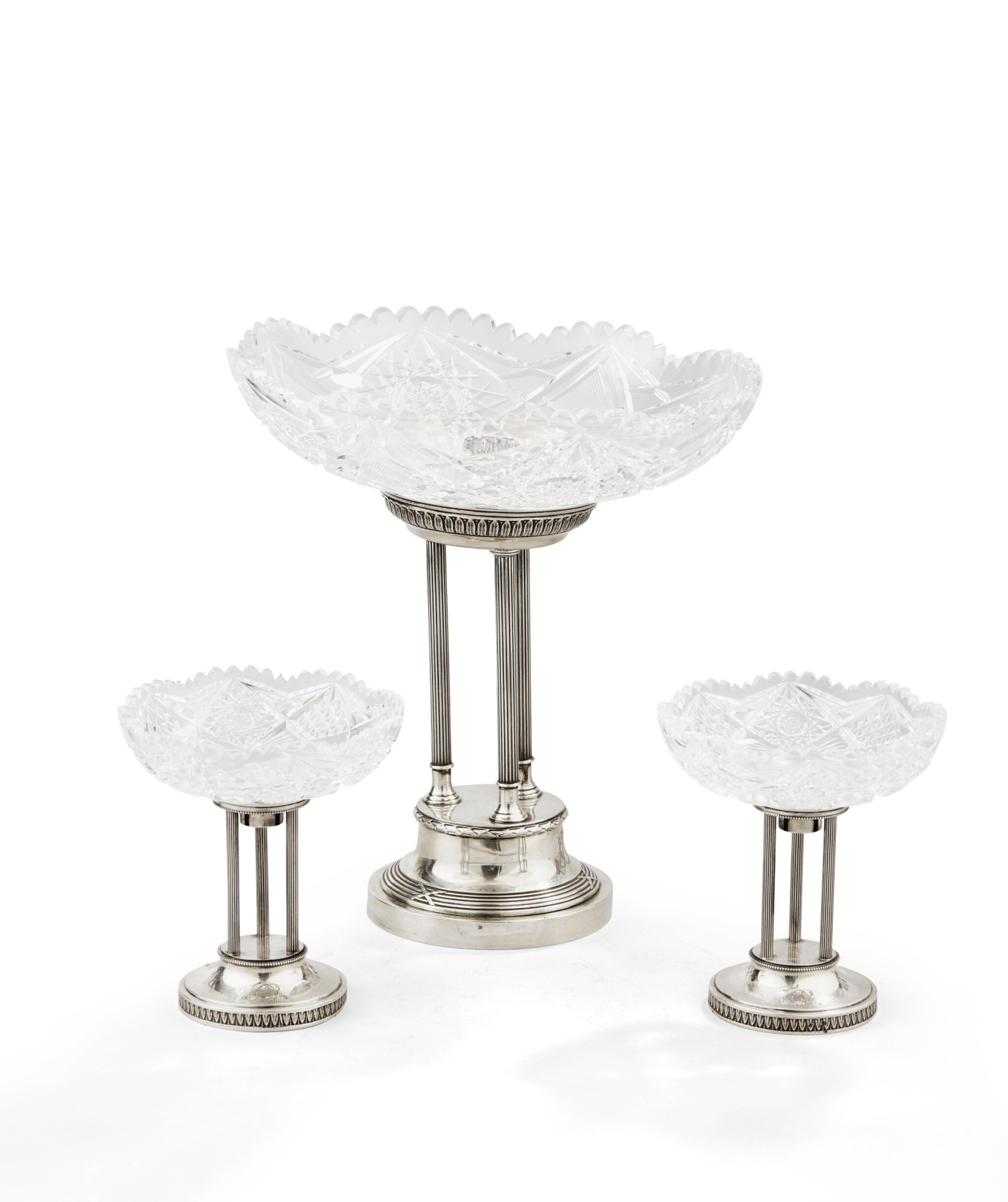 View 1 of Lot 72. A SET OF THREE SILVER AND CUT-CRYSTAL CENTERPIECES, RUSSIA, 1908-1917 |  CENTRES DE TABLE EN ARGENT ET CRISTAL, RUSSIE, 1908-1917 .