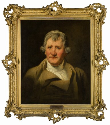 View 2. Thumbnail of Lot 7. Portrait of David Haliburton of Bushey Grove (1774 - c. 1833), cousin of Walter Scott, bust-length, in a brown coat.