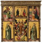 SPANISH SCHOOL, 16TH CENTURY | POLYPTYCH WITH THE CRUCIFIXION, THE ANNUNCIATION, SAINT FRANCIS, MAGDALENE AND SAINT CLARA