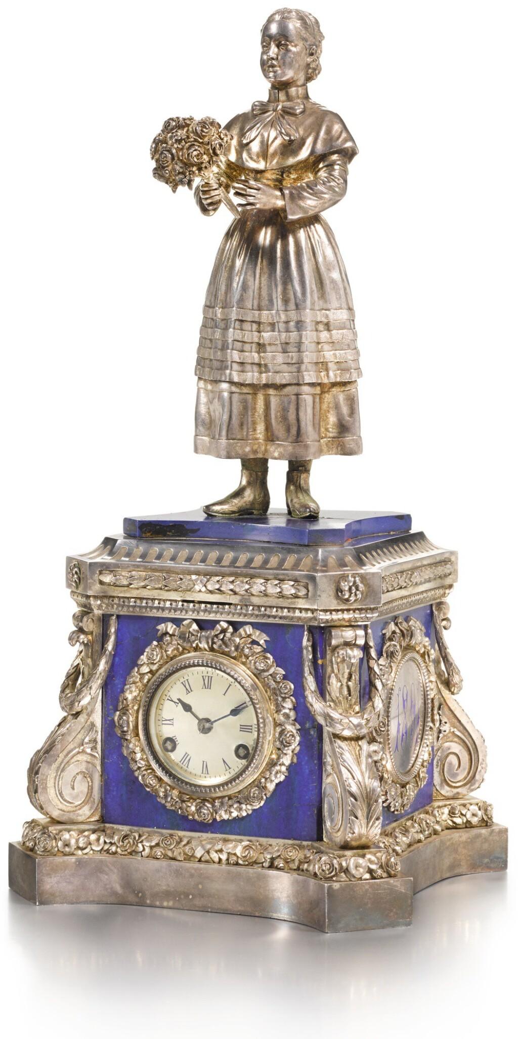 A SILVER, ENAMEL AND LAPIS PRESENTATION CLOCK, KHLEBNIKOV, MOSCOW, 1891