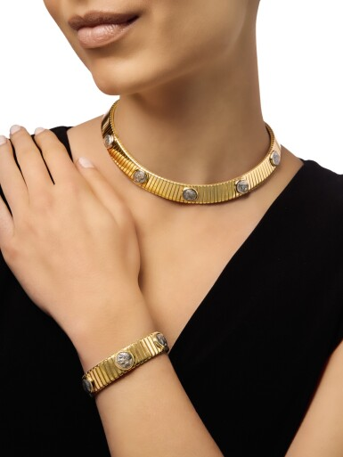 View 2. Thumbnail of Lot 310. GOLD AND ANCIENT COIN CHOKER-NECKLACE AND CUFF-BRACELET, BULGARI .