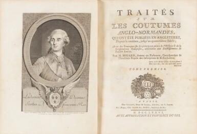 View 2. Thumbnail of Lot 76. Traités sur les coutumes anglo-normandes. 1776. 4 vol. in-4. Armes comtesse de Provence et comtesse d'Artois..