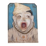 FRENCH PAINTED-DECORATED PLASTER CLOWN CARNIVAL TOSS GAME WALL PLAQUE, EARLY 20TH CENTURY