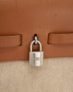 Beige coated canvas and leather tote with palladium hardware, 2 in 1 Herbag, Hermès, 1998
