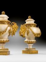 A PAIR OF LOUIS XVI GILT-BRONZE MOUNTED MARBLE STONE POTS-POURRIS VASES [PAIRE DE POTS-POURRIS AUX SATYRES EN PIERRE MARBRIERE BLANCHE ET MONTURE DE BRONZE DORE D'EPOQUE LOUIS XVI]