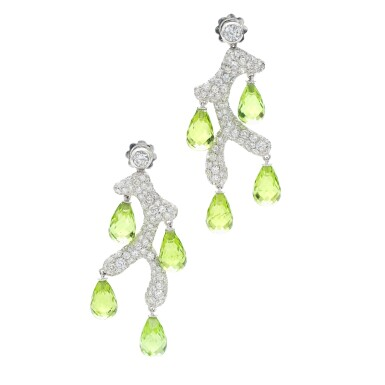View 2. Thumbnail of Lot 34. MICHELE DELLA VALLE | PAIR OF PERIDOT AND DIAMOND EARRINGS .