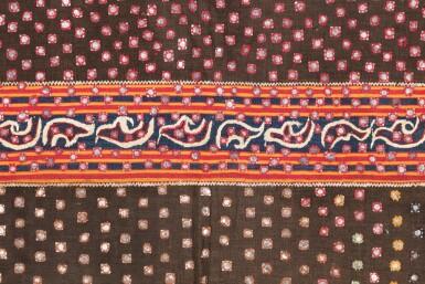 View 3. Thumbnail of Lot 20. Vêtement de femme tapis, Lampung, Sumatra, Indonésie, début du 20e siècle   Woman's wrapper tapis, Lampung, Sumatra, Indonesia, early 20th century.