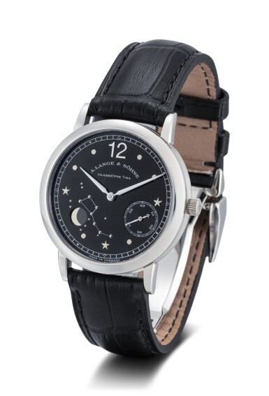 View 2. Thumbnail of Lot 63. A. LANGE & SÖHNE | 1815 MOON PHASE, REFERENCE 231.035, A LIMITED EDITION PLATINUM ASTRONOMICAL WRISTWATCH WITH MOON PHASES, MADE TO COMMEMORATE THE 150TH ANNIVERSARY OF EMIL LANGE'S BIRTH, CIRCA 1999.