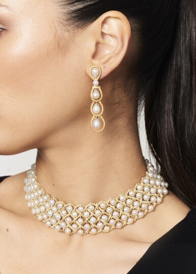 View 4. Thumbnail of Lot 29. Gold and Cultured Pearl Choker-Necklace and Pair of Earclips.