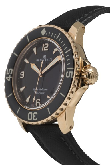 View 2. Thumbnail of Lot 34. BLANCPAIN   FIFTY FATHOMS, REF 5015-3630-52 PINK GOLD WRISTWATCH WITH DATE CIRCA 2012.