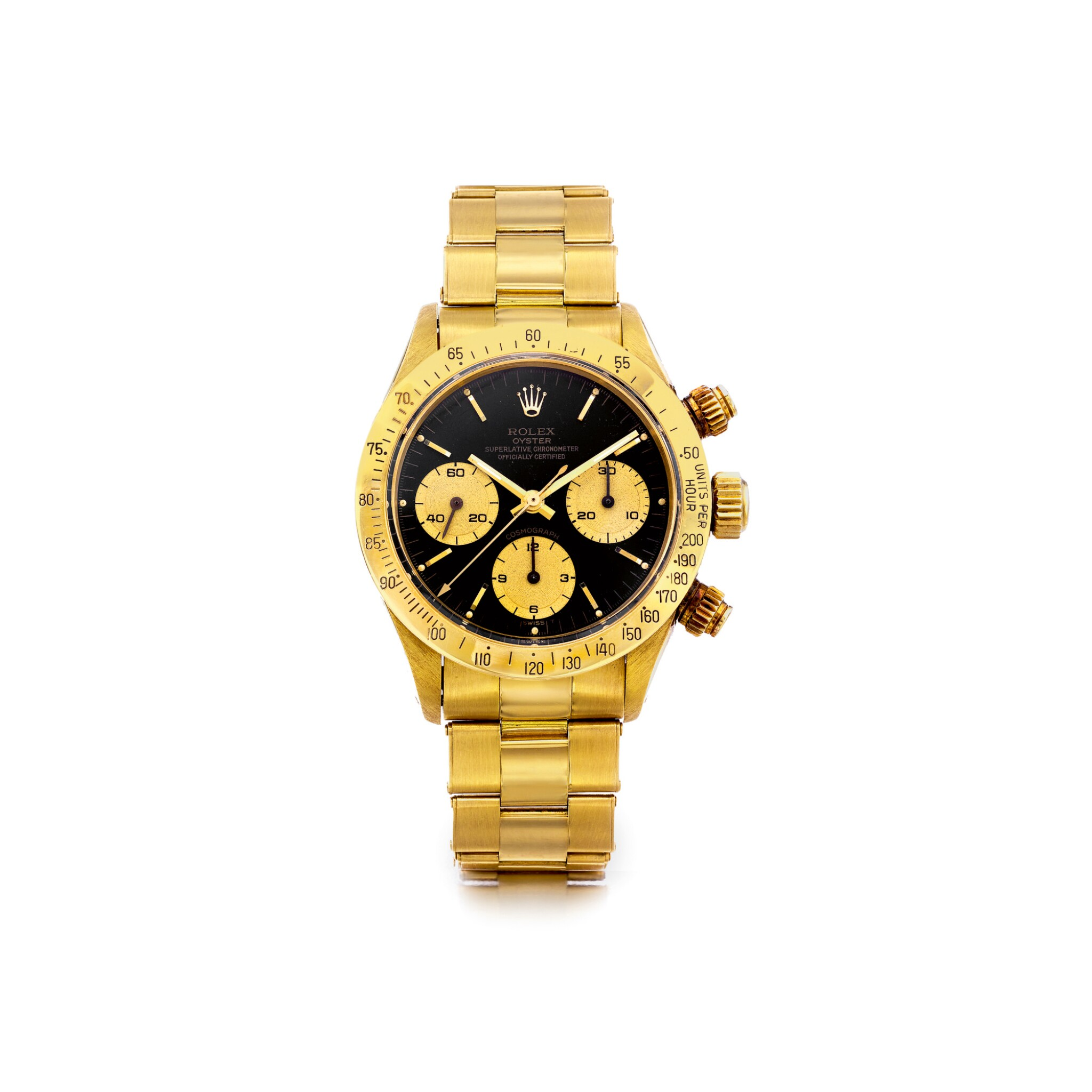 View full screen - View 1 of Lot 1079. ROLEX | REF 6265/6263 DAYTONA, A YELLOW GOLD CHRONOGRAPH WRISTWATCH WITH REGISTERS AND BRACELET, CIRCA 1986 | 勞力士 |6265/6263型號「DAYTONA」黃金計時鍊帶腕錶,年份約1986.