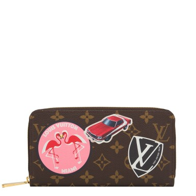 """Louis Vuitton Monogram """"World Tour"""" Zippy Wallet of Coated Canvas and Polished Brass Hardware"""