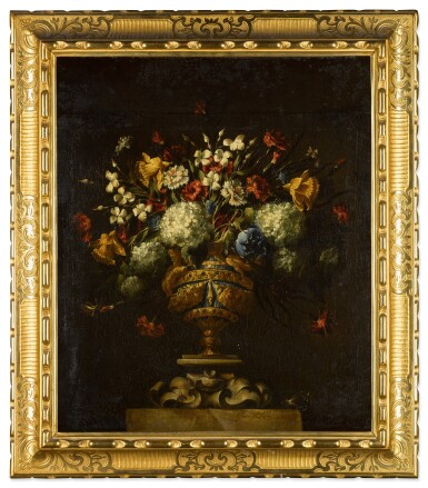 View 7. Thumbnail of Lot 42. A pair of floral still lifes, in lapis and bronze vases on stone plinths | 《靜物畫一對:石基座上的青銅鑲青金石瓶花》.