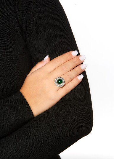 View 4. Thumbnail of Lot 83. EMERALD AND DIAMOND RING.