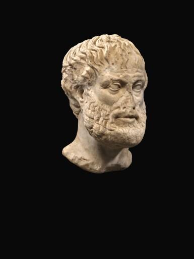 View 5. Thumbnail of Lot 247. A ROMAN MARBLE PORTRAIT HEAD OF ARISTOTLE, CIRCA 1ST CENTURY A.D..