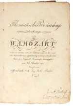 W. A. Mozart--Johann Anton André. First edition of Mozart's thematic catalogue, the first lithographed book, 1805