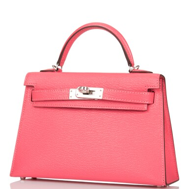 View 4. Thumbnail of Lot 29. HERMÈS   ROSE LIPSTICK SELLIER KELLY 20CM OF CHEVRE LEATHER WITH PALLADIUM HARDWARE.