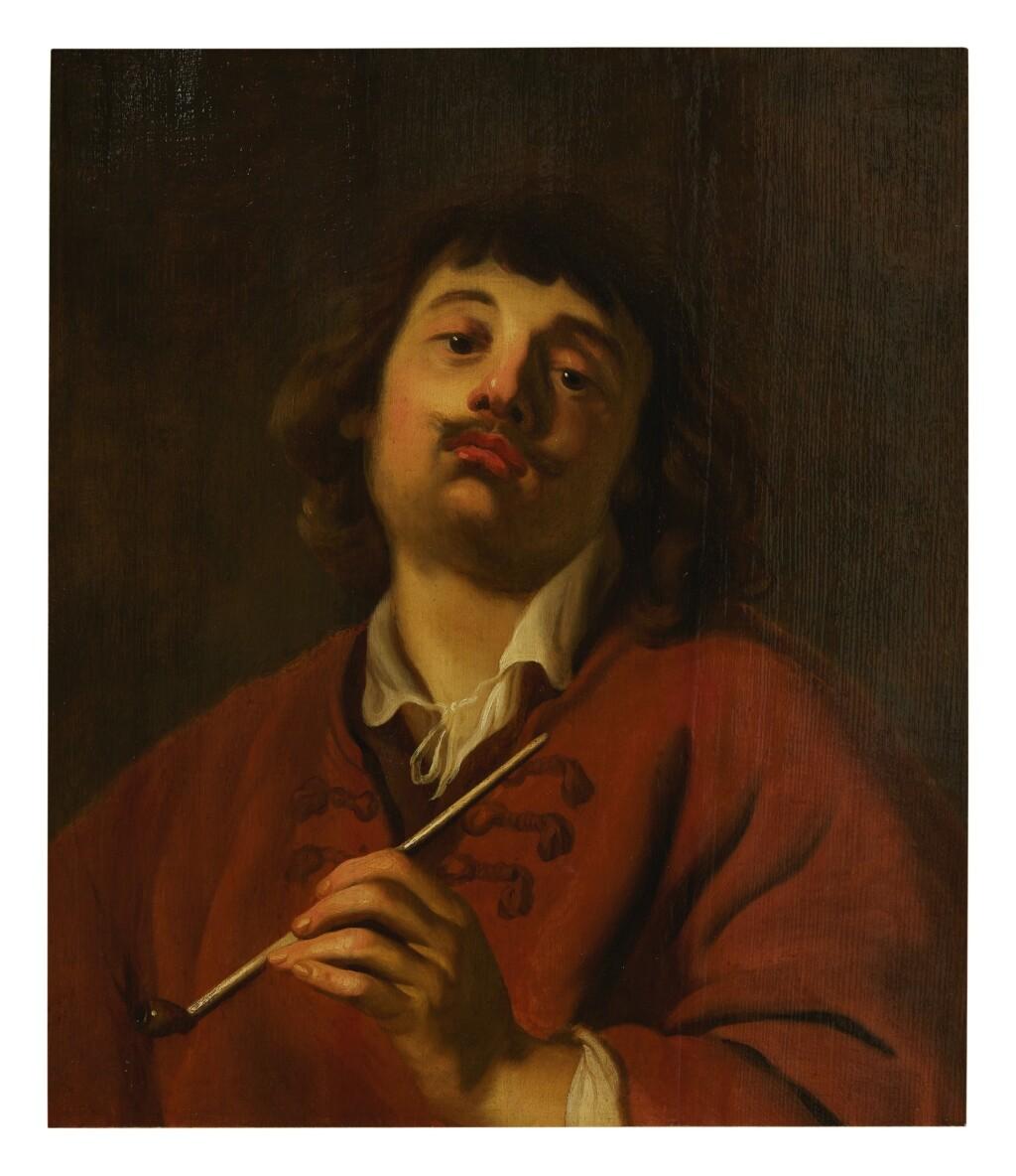 CIRCLE OF JACOB ADRIAENSZ BACKER   PORTRAIT OF A MAN SMOKING A PIPE (THE SENSE OF SMELL)