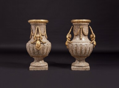 View 2. Thumbnail of Lot 57. A Monumental Pair of Gilt Bronze-Mounted Pink Granite Vases, the Mounts Circa 1840 After Designs by Jean-Louis Prieur or Jean-François Forty; the Vases Possibly Late 18th Century.