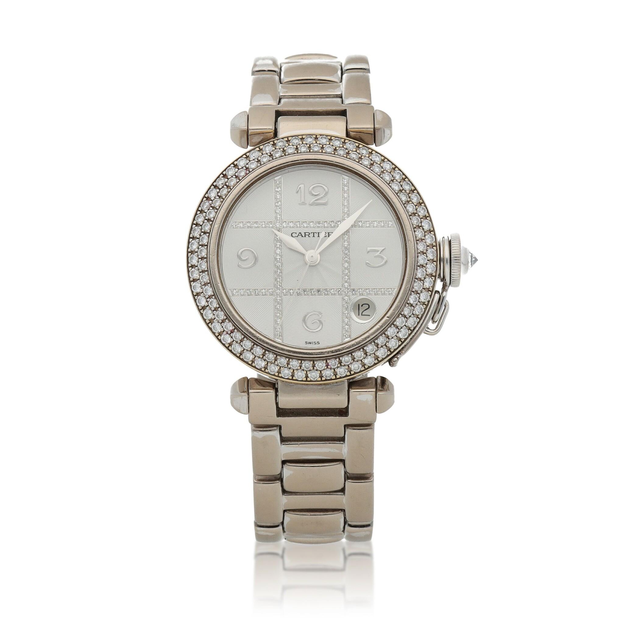 View full screen - View 1 of Lot 472. Pasha, Ref. 2308 White gold and diamond-set wristwatch with date and bracelet Circa 2000   卡地亞 2308型號「Pasha」白金鑲鑽石鍊帶腕錶備日期顯示,年份約2000.