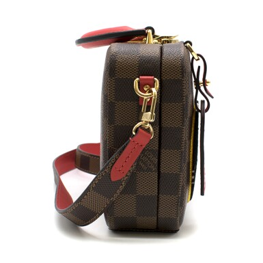 View 4. Thumbnail of Lot 160. Stories Box Damier Ebène Colour coated canvas and red cowhide leather trim with sequin, velour & embroidered patches. Louis Vuitton. Cruise Collection 2018..
