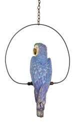 A CONTINENTAL PORCELAIN MODEL OF A PARROT AND METAL RING, LATE 19TH/20TH CENTURY
