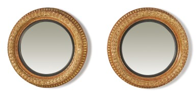 A PAIR OF ENGLISH REGENCY CONVEX GILTWOOD MIRRORS, EARLY 19TH CENTURY