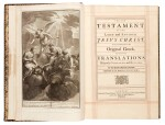 Bible, London, 1751, 4 volumes, navy morocco gilt, Newcastle copy