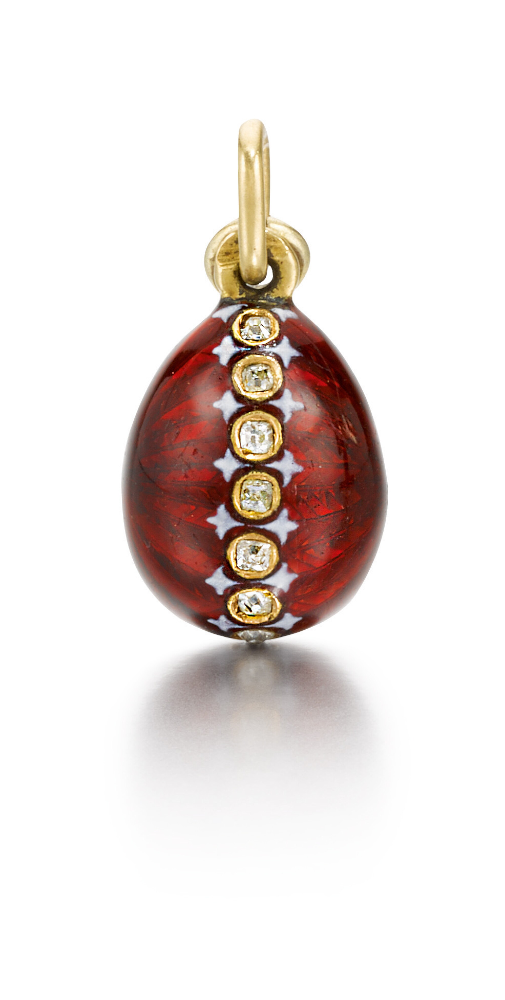 A jewelled gold and enamel egg pendant, Moscow, late 19th / early 20th century