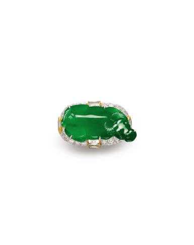View 1. Thumbnail of Lot 1629. Jadeite and Diamond 'Lucky Ox' Ring | 天然翡翠 配 鑽石 【牛氣沖天】戒指.