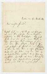 """R. Schumann. Autograph letter to Heinrich Dorn about """"Das Paradies und die Peri"""", and his illnesses, 1845"""