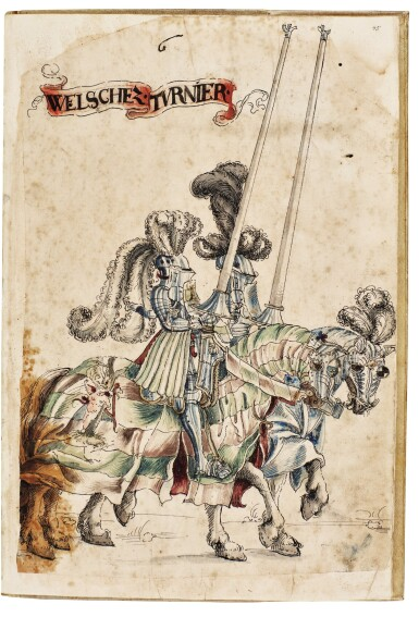 View 6. Thumbnail of Lot 9. WORKSHOP OF HANS BURGKMAIR THE ELDER | A 'TOURNAMENT BOOK', WITH 16 NUMBERED SHEETS OF DRAWINGS OF KNIGHTS, MOSTLY ON HORSEBACK, IN PAIRS .