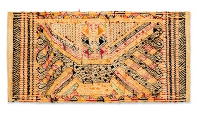 "View 4. Thumbnail of Lot 32. Tissu cérémoniel ""à jonques"" tatibin, Lampung, Sumatra, Indonésie, ca.1900 | Ceremonial hanging ""ship cloth"" tatibin, Lampung, Sumatra, Indonesia, about 1900."