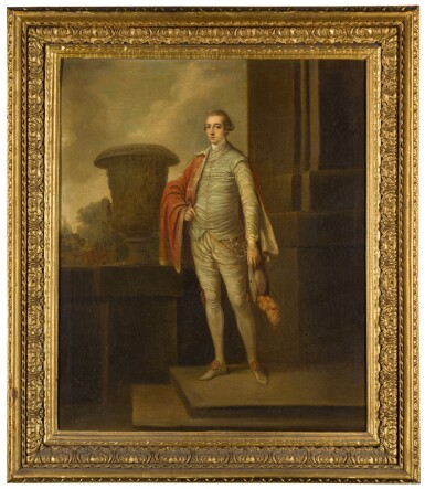 ROBERT HUNTER   PORTRAIT OF JOSEPH LEESON, LATER 2ND EARL OF MILLTOWN (1730-1801), FULL-LENGTH, STANDING BY A CLASSICAL URN, A LANDSCAPE BEYOND